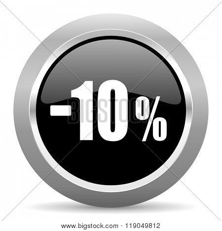 10 percent sale retail black metallic chrome web circle glossy icon