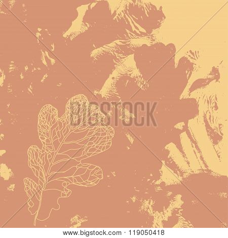 Autumn Defoliation In The Nature. Foliage Of Oak Leaf