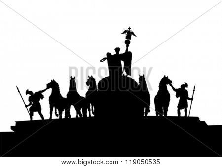 Silhouette equestrian monument on a white background