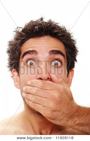 Man with surprised facial expression