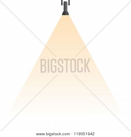 Spotlight Shines Down Isolated On White Background.