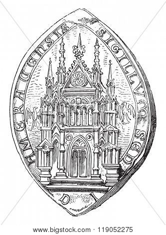 Official of Cambrai. Edicule Gothic, vintage engraved illustration. Magasin Pittoresque 1880.