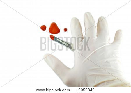 Scalpel and hands in the blood