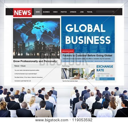 Global Business Finance News Feed Seminar Concept