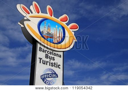 Barcelona, Catalonia, Spain - December 13, 2011: Bus Stop Sign Of The Official Barcelona Sightseeing