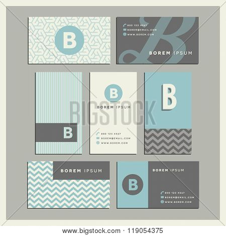 Set of coordinating business card designs with the letter b