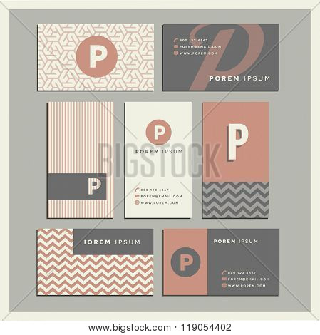 Set of coordinating business card designs with the letter p