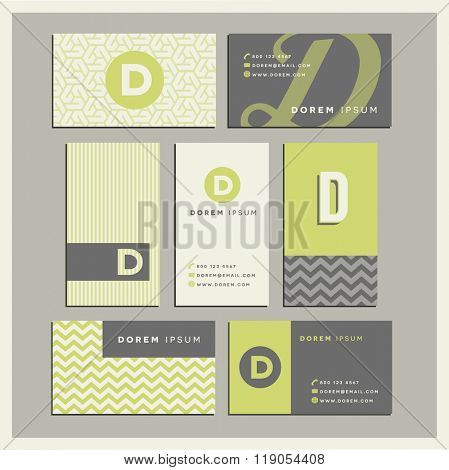 Set of coordinating business card designs with the letter d