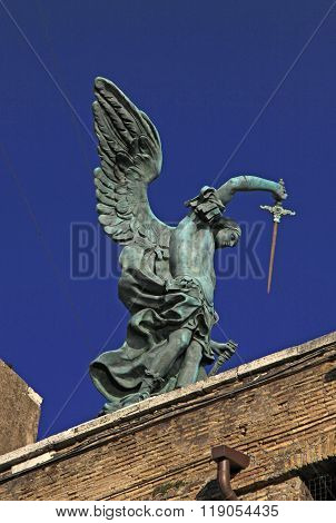 Rome, Italy - December 20, 2012:statue Of Angel With Sword On The Top Of Castel Sant'angelo In Rome,
