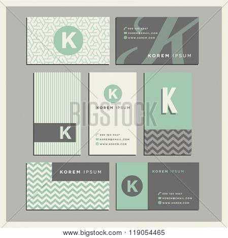 Set of coordinating business card designs with the letter k