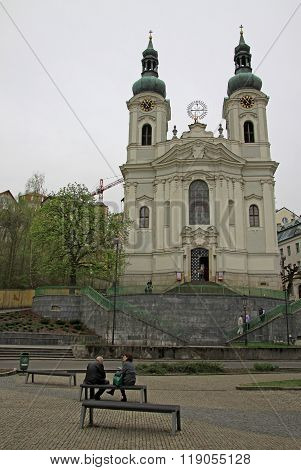 Karlovy Vary, Czech Republic - April 27, 2013: Church Of St. Mary Magdalene In Karlovy Vary Or Carls