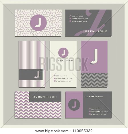 Set of coordinating business card designs with the letter j