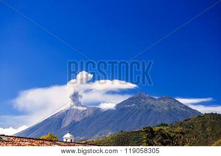 Active Volcano Fuego Erupts Next To Acatenango Volcano, Guatemala