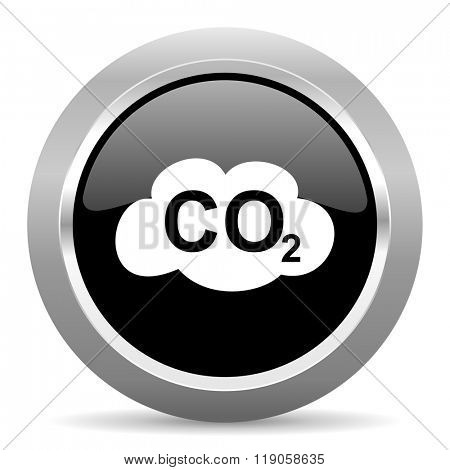 carbon dioxide black metallic chrome web circle glossy icon