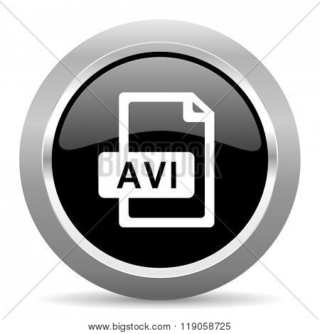 avi file black metallic chrome web circle glossy icon