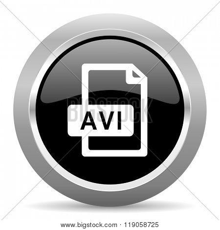 avi file black metallic chrome web circle glossy icon