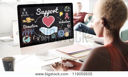 Support Charit Donation Volunteer Concept
