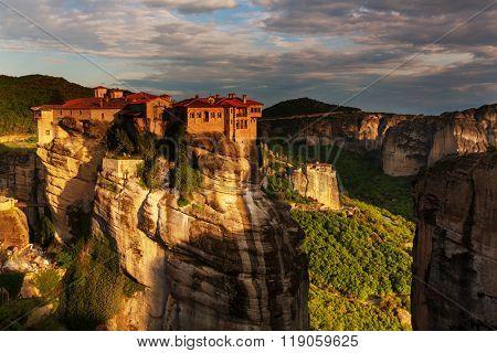 Meteora monasteries in Greece. Instagram filter.