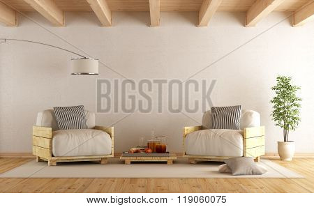 Modern Living Room With Two Pallet Armchair