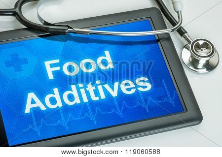 Tablet With The Text Food Additives On The Display