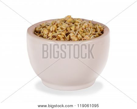 Sprouts Of Green Buckwheat In Pink Bowl. Isolated On White