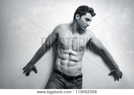 Muscular handsome man with sexy abs