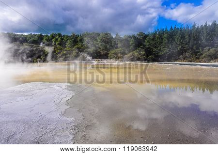 Water Pond In The Wai-o-tapu Geothermal Area, Near Rotorua, New Zealand