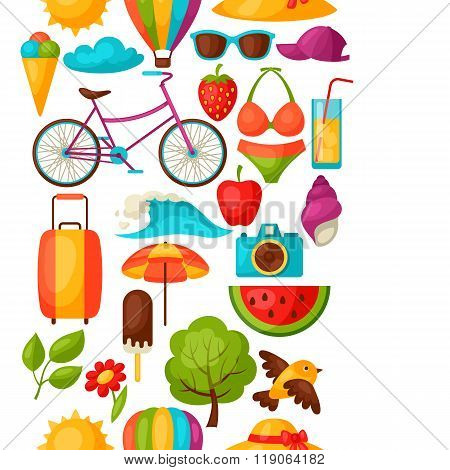 Seamless pattern with stylized summer objects. Background made without clipping mask. Easy to use fo