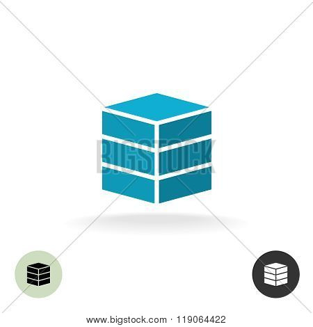 Data Base Logo. Simple Geometric 3D Box Symbol.
