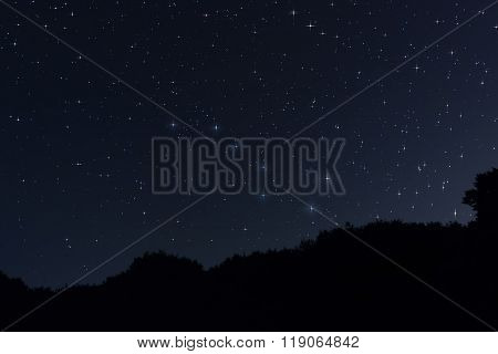 Starry night Ursa Major,Big Dipper constellation with diffraction spikes Beautiful night sky