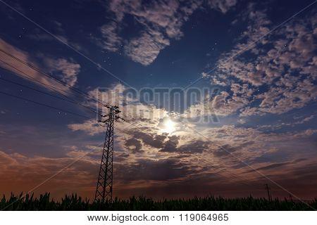 Beautiful night sky, full moon, Beautiful clouds Transmission towers