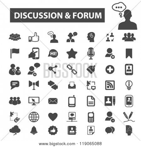 discussion icons, discussion logo, forum icons vector, forum flat illustration concept, forum infographics elements isolated on white background, forum logo, forum symbols set, talking, chat, speech