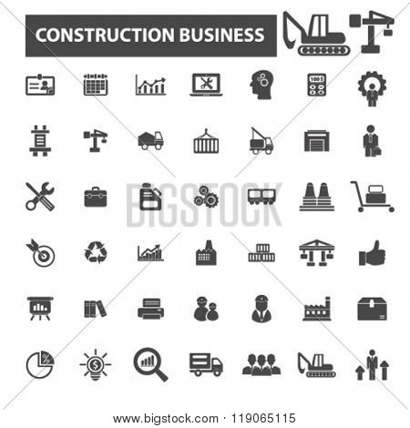 construction icons, construction logo, factory icons vector, factory flat illustration concept, factory infographics elements isolated on white background, factory  logo, factory symbols set, business