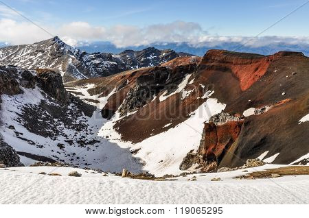 Back View Of Red Crater In The Tongariro National Park, New Zealand