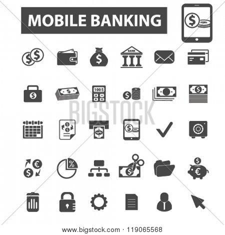 mobile banking icons, mobile banking logo, online banking icons vector, online banking flat illustration concept, online banking logo, online banking symbols set, payment, atm, internet banking, bank