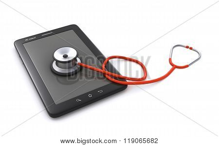 tablet computer and stethoscope