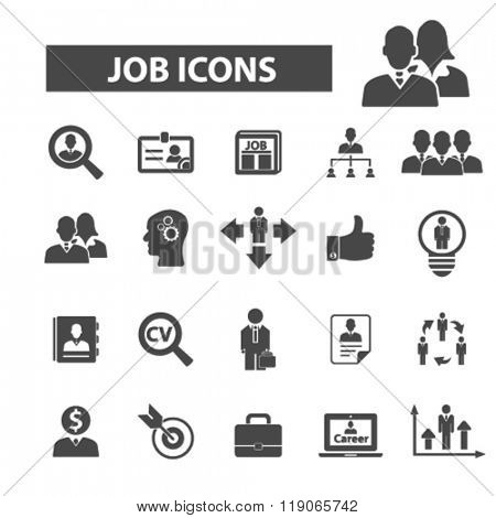 job icons, job logo, career icons vector, career flat illustration concept, career infographics elements isolated on white background, career logo, career symbols set, cv, human resources, recruiting