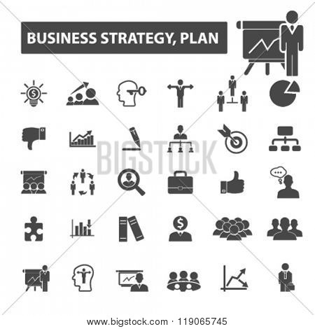 business plan icons, business plan logo, strategy icons vector, strategy flat illustration concept, strategy infographics elements isolated on white background, strategy logo, strategy symbols set,