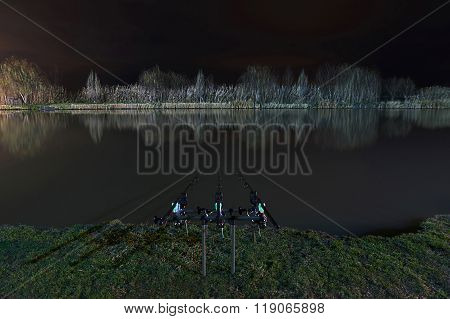 Night Fishing, Carp Rods, Cloudscape reflection on lake
