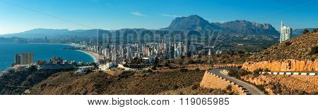Panoramic View To The Benidorm City. Benidorm Is A Coastal City In Alicante, Costa Blanca. Spain