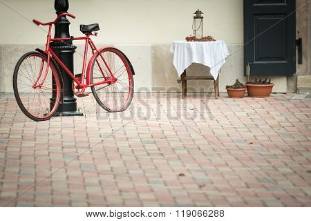 Old Bicycle In Stree Of Budapest, Europe.
