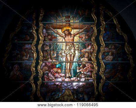 Stained Glass Window Depicting Jesus Christ.