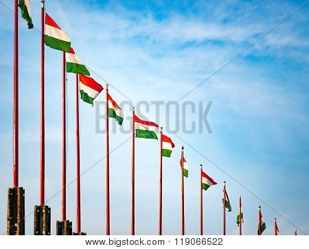 Flags On Budapest Castle Hill.