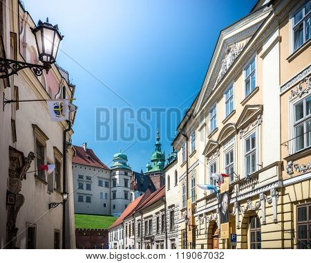 Beautiful Buildings Near Wawel Castle In Poland.