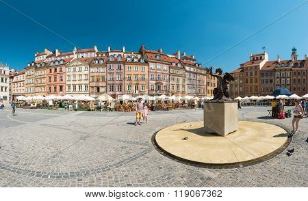 Market Square In Warsaw, Poland, Europe.