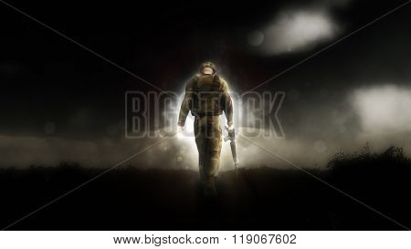 Dramatic image of a 3D soldier walking down a path with his head down