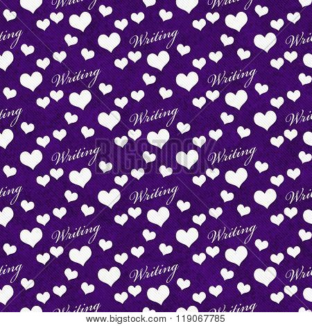 Purple And White I Love Writing Tile Pattern Repeat Background