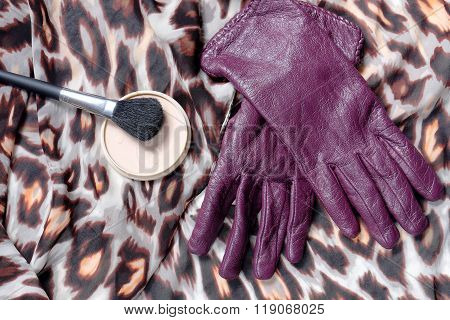 Purple Leather Women's Gloves With Powder Grease-paint Brush With Color Scarf On Marble Table