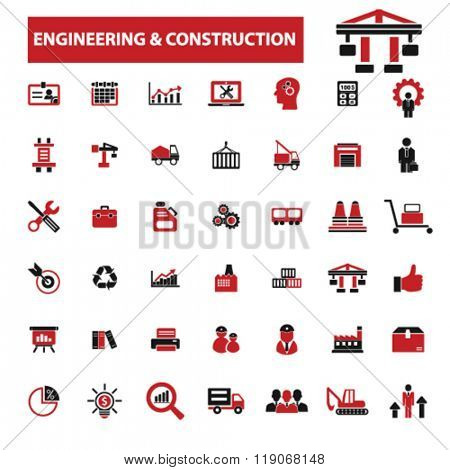 engineering, construction, Industrial business, factory, industry, meeting, logistics, manufacturing, industrial plant, engineering, business concept icons