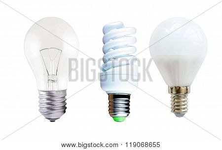 Led Lamp, Fluorescent Lamp And Incandescent